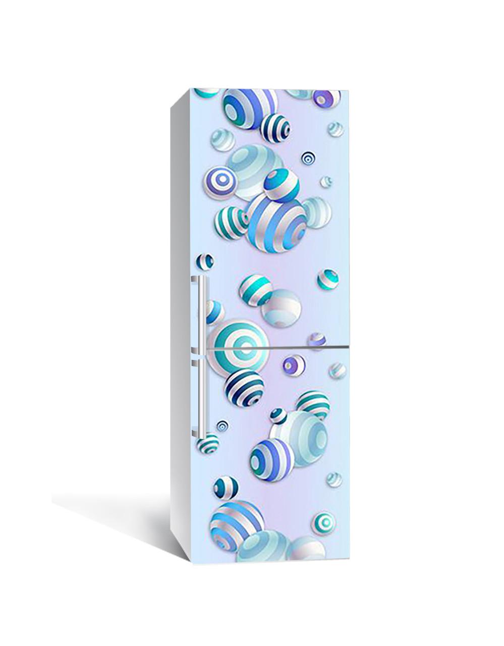 Декор 3Д наклейка на холодильник Смугасті намиста (плівка ПВХ з ламінуванням) 65*200см Абстракція Блакитний
