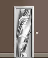 Виниловые наклейки на дверь Серебряный шелк и Перья ПВХ пленка с ламинацией 65*200см Текстуры Серый