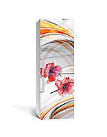 Декор 3Д наклейка на холодильник Акварельные Маки Линии (пленка ПВХ фотопечать) 65*200см Абстракция Серый