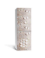 Декор 3Д наклейка на холодильник Гладкие камни россыпь (пленка ПВХ фотопечать) 65*200см Текстуры Бежевый