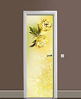Декоративная наклейка на двери Желтые розы орнамент ПВХ пленка с ламинацией 65*200см Цветы Желтый