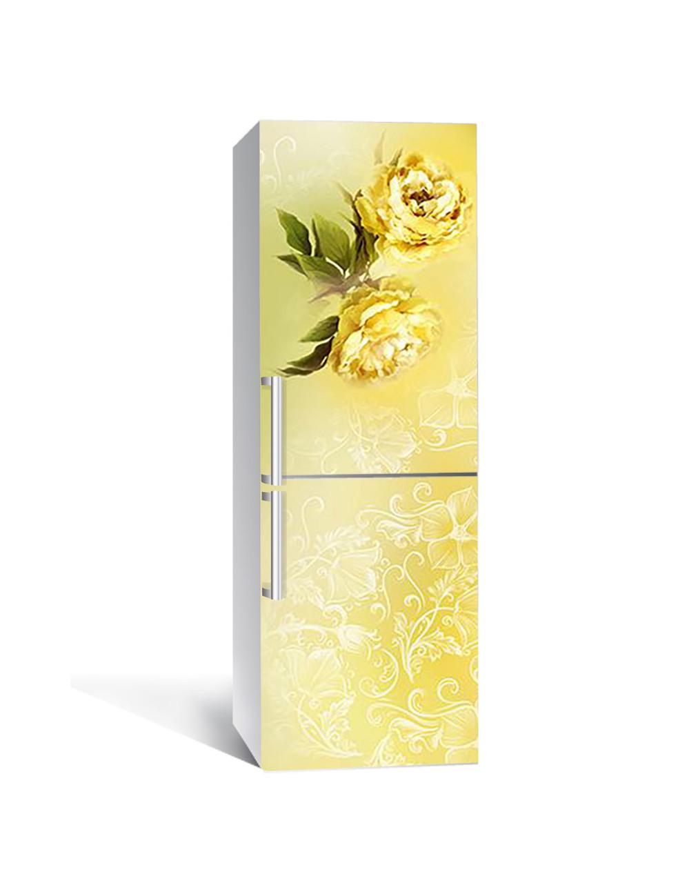 Декор 3Д наклейка на холодильник Желтые розы орнамент (пленка ПВХ с ламинацией) 65*200см Цветы Желтый