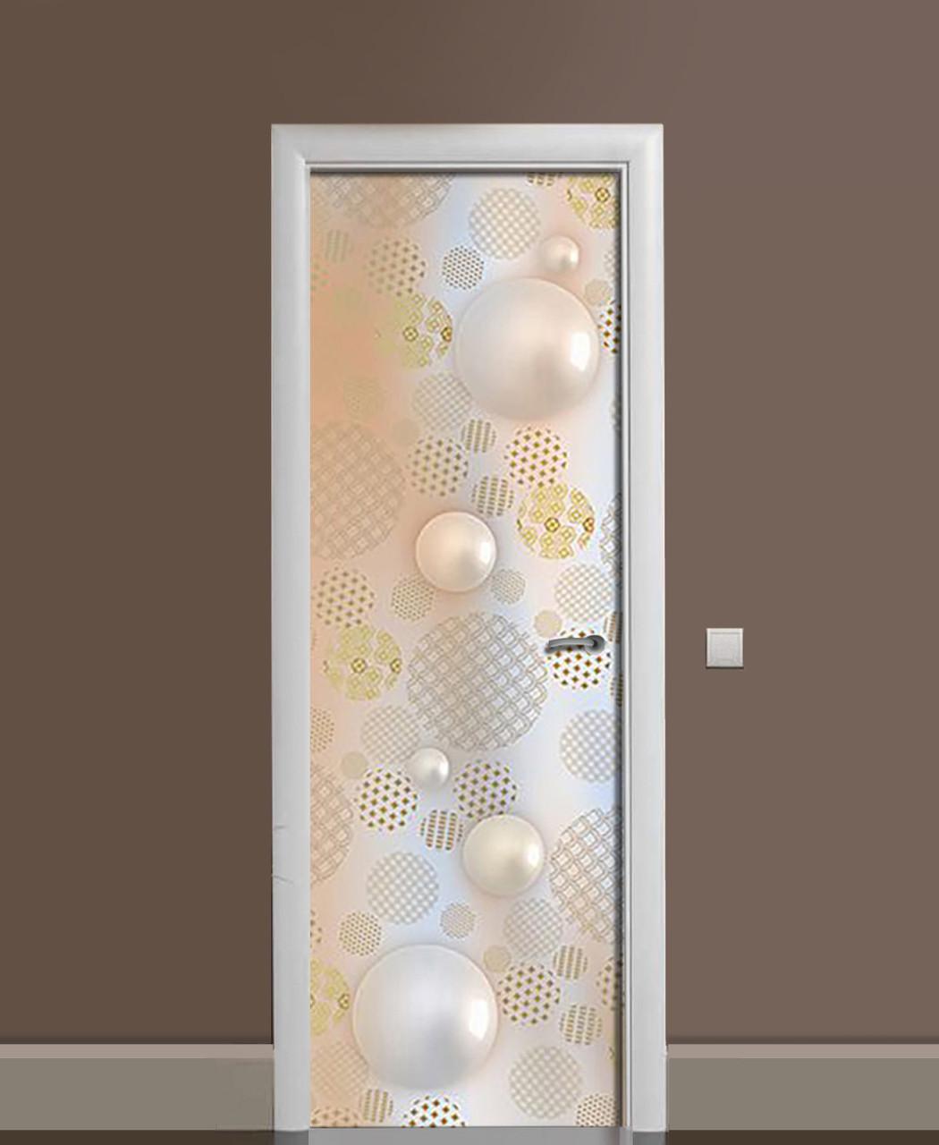 Декоративна наклейка на двері Перлинний печворк ПВХ плівка з ламінуванням 65*200см Текстура Бежевий