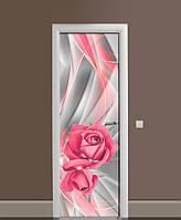 Декоративна наклейка на двері Рожеві Троянди Лінії ПВХ плівка з ламінуванням 65*200см Абстракція Сірий