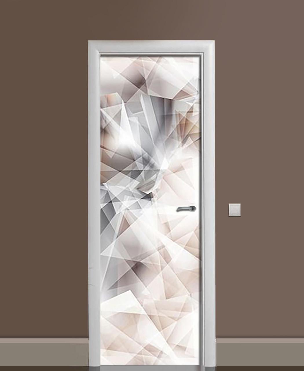 Виниловые наклейки на дверь Горный хрусталь ПВХ пленка с ламинацией 65*200см Абстракция Серый