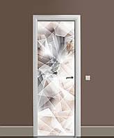 Вінілові наклейки на двері Гірський кришталь ПВХ плівка з ламінуванням 65*200см Абстракція Сірий