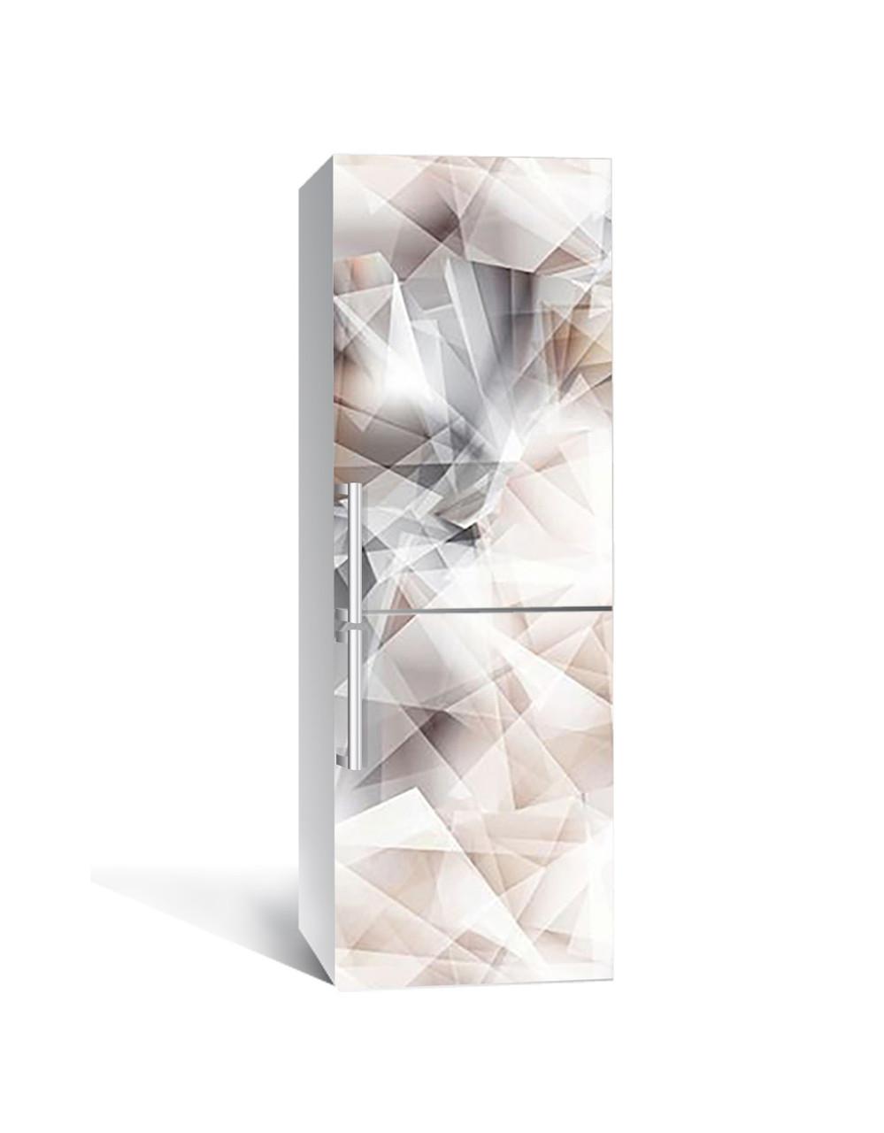 Вінілова 3Д наклейка на холодильник Гірський кришталь (плівка ПВХ фотодрук) 65*200см Абстракція Сірий