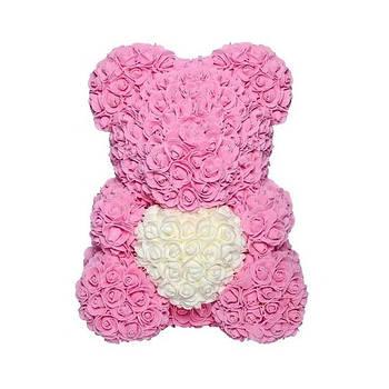 Мишко з 3D троянд висотою 40см Рожевий
