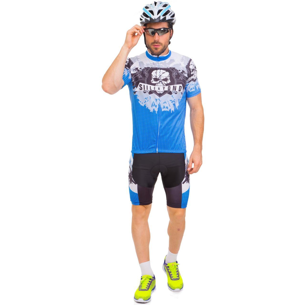 Велоформа короткий рукав SKULL MS-6820-BL (р-р M-3XL-55-90кг-168-192см, синий-белый-черный)