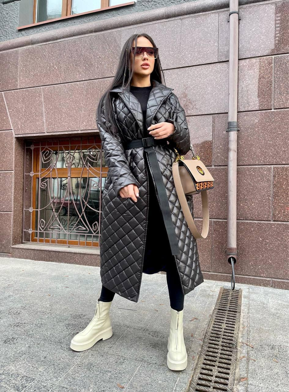 Стеганное Пальто женское на утеплителе, на кнопках и с поясом (р. S, M) 71lt178