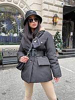 Демисезонная женская куртка пиджак из матовой плащевки с поясом (р. S, M) 71mku578, фото 1