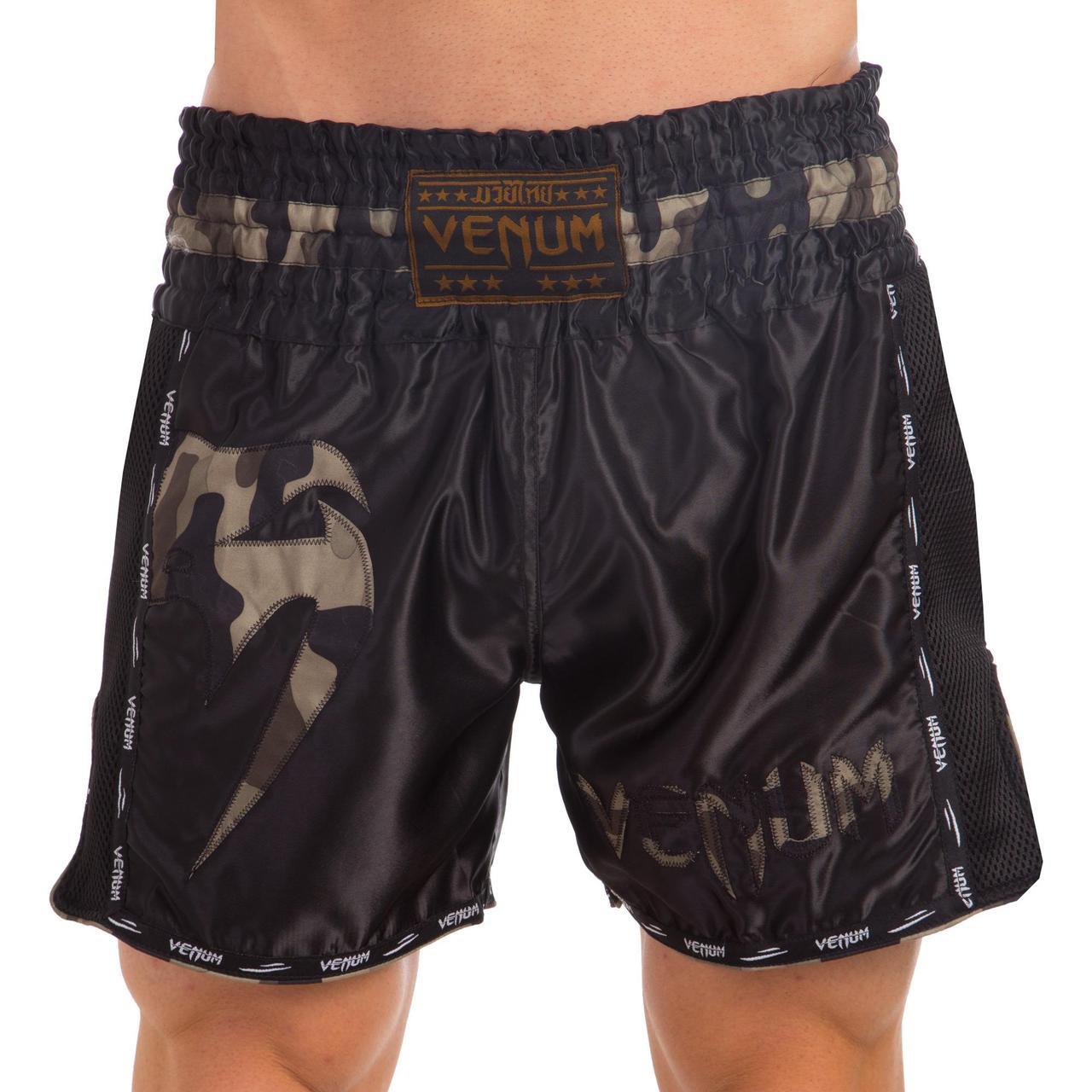 Шорты для тайского бокса и кикбоксинга VNM GIANT VL-0225 (полиэстер, р-р S-L, камуфляж, черный)