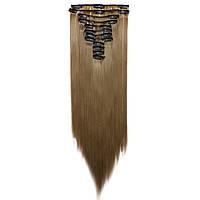 Искусственные волосы на заколках. Цвет #68 Холодный русый. Набор прядей, фото 1