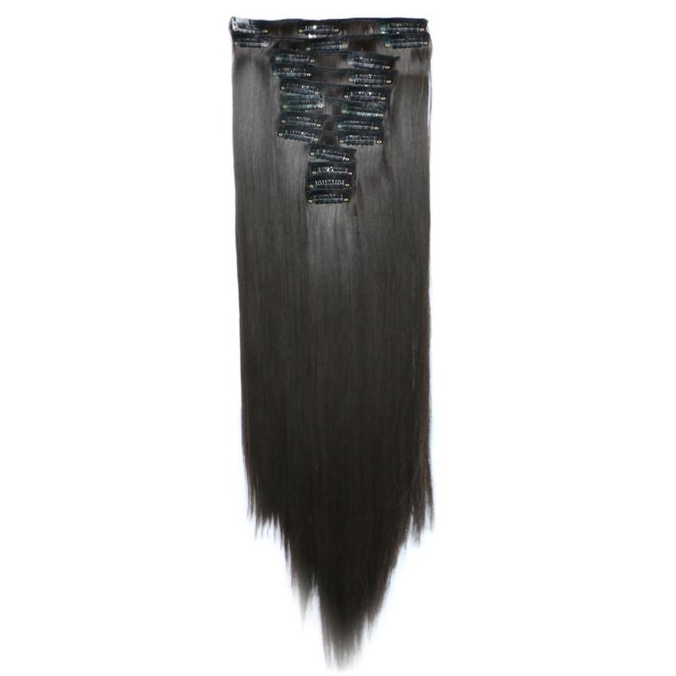 Искусственные волосы на заколках. Цвет #04 Темно-коричневый. Набор прядей, фото 1