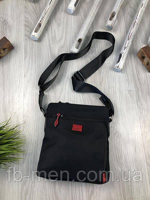 Планшетка черная Лабутин | Сумка мужская Лобутин черного цвета текстильная | Мессенджер на плече Лабутин