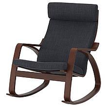 Кресло-качалка IKEA POÄNG Hillared Черный с коричневым (492.010.35)