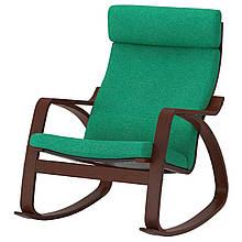 Кресло-качалка IKEA POÄNG Lysed Зеленый с коричневым (392.444.41)