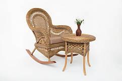 Кресло качалка с приставным столиком Виктория Cruzo Светло-коричневый (kk0015)