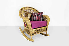 Кресло-качалка и пуф Ацтека CRUZO натуральный ротанг светло-коричневый (ас0019)
