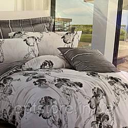 """""""черно-белое"""" постельное белье Elway Premium евро размер 200*220 см, ткань сатин 100% хлопок"""