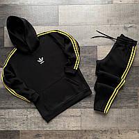 Спортивный костюм мужской Adidas весенний осенний с лампасами черный-желтый | Комплект Худи + Штаны Адидас, фото 1