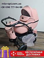 Детская коляска 2 в 1 Classik (Классик) Victoria Gold эко кожа розовый