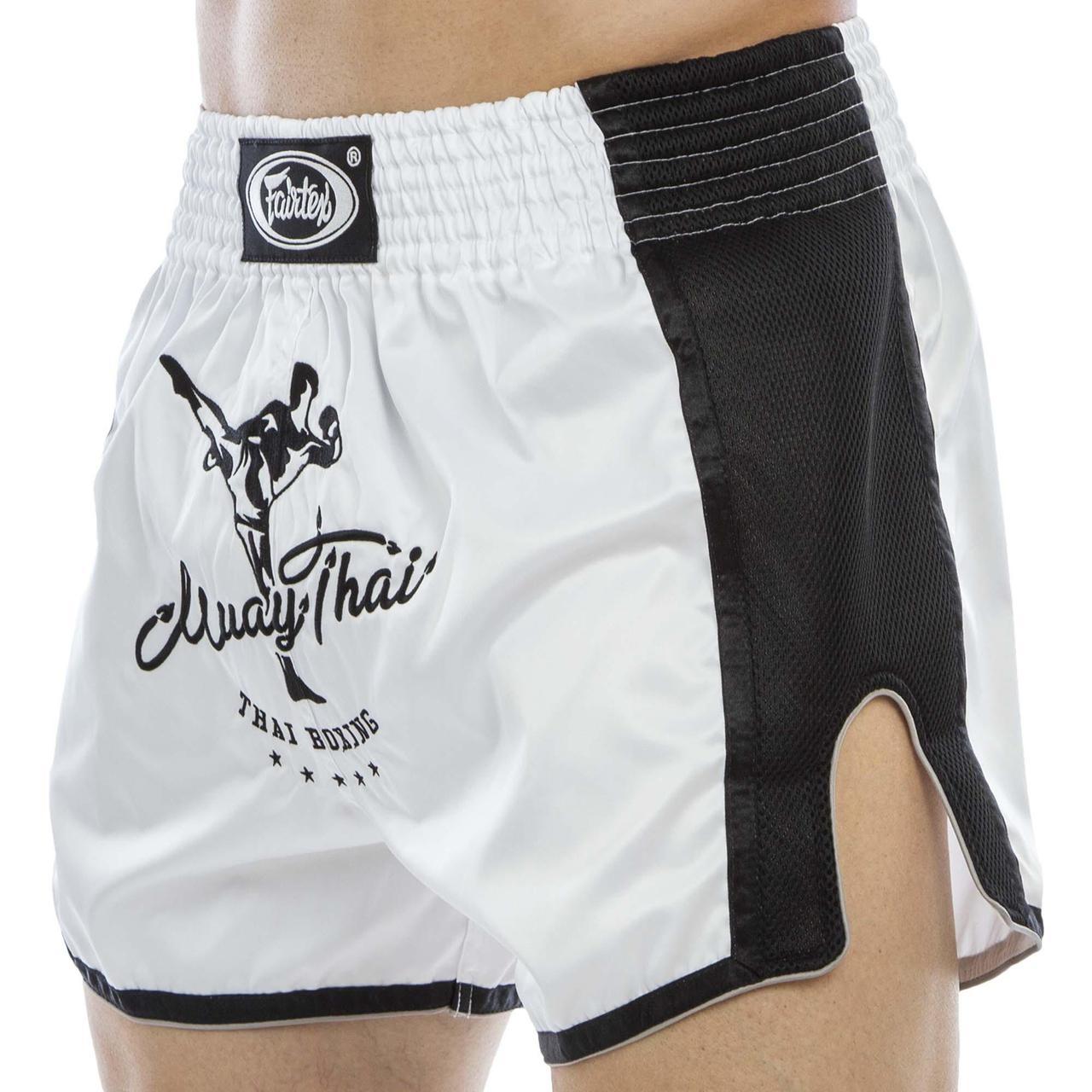 Шорты для тайского бокса и кикбоксинга FAIRTEX BS1707 (сатин, нейлон, р-р S-XL, белый-черный)