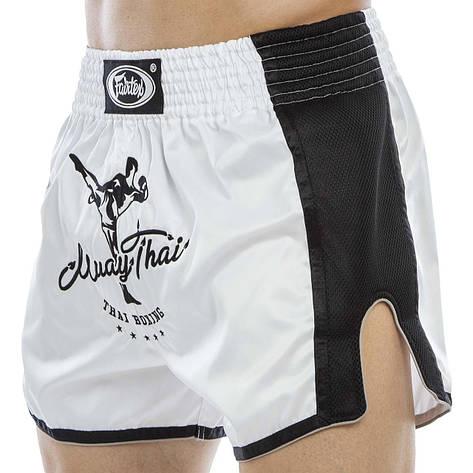 Шорты для тайского бокса и кикбоксинга FAIRTEX BS1707 (сатин, нейлон, р-р S-XL, белый-черный), фото 2