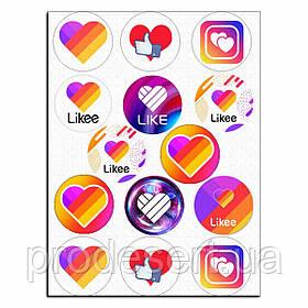 Капкейки-6 см Социальные сети вафельная картинка