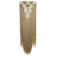 Искусственные волосы на заколках. Цвет #10/86 Русый мелированный. Набор прядей