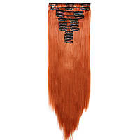 Искусственные волосы на заколках. Цвет #119 Рыжий. Набор прядей, фото 1