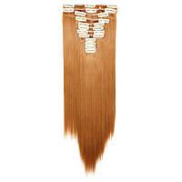 Искусственные волосы на заколках. Цвет #27s Натуральный рыжий. Набор прядей, фото 1