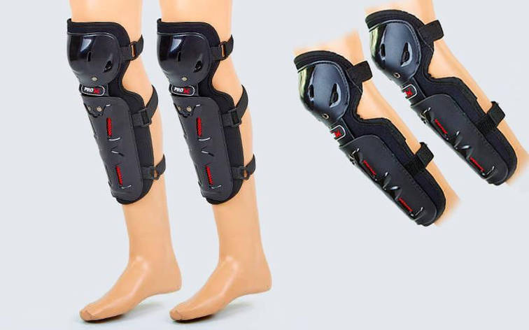 Комплект мотозащиты (колено, голень + предплечье, локоть) 4шт PRO-X MS-5480 (PVC, PL, черный), фото 2