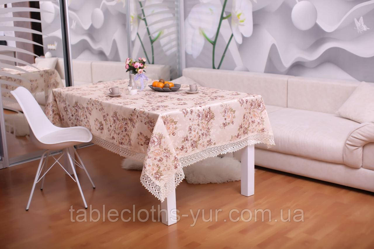 Скатерть Праздничная с Кружевом 110-150 3D «Beautiful» Прямоугольная №1