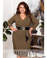 Деловое платье- пальто с двумя рядами пуговиц с 52 по 58 размер, фото 7