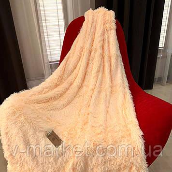 """Хутряний Плед Травичка """"Персиковий"""" євро розмір, 220/240 см"""