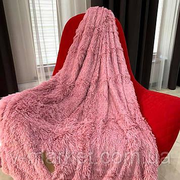 """Хутряний Плед Травичка рожевий """"Пильна троянда"""" євро розмір, 220/240 см"""