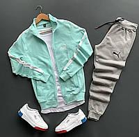 Спортивный костюм мужской Puma lite бирюзовый весенний осенний | Комплект Пума Кофта + Штаны ТОП качества