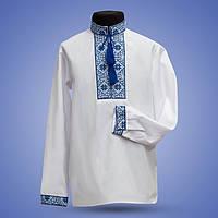 Белая рубашка с синей вышивкой для мальчика