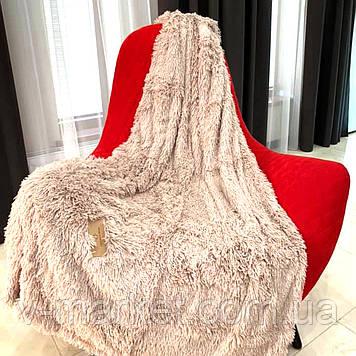 """Хутряний Плед Травичка світло-бежевий """"Капучіно"""" євро розмір, 220/240 см"""