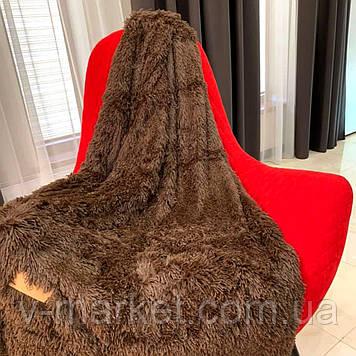 """Хутряний Плед Травичка коричневий """"Шоколад"""" євро розмір, 220/240 см"""