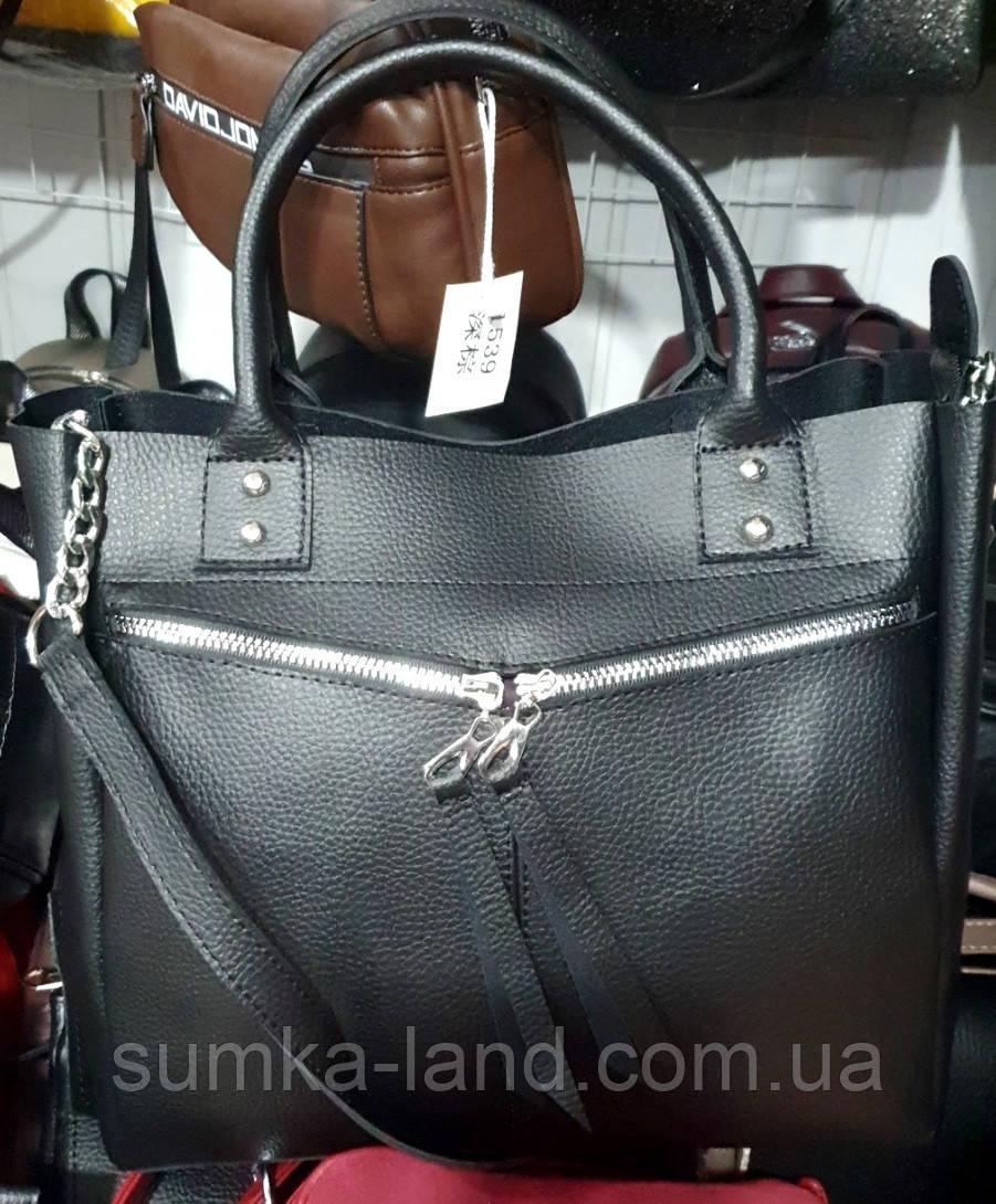 Женская черная сумка из искусственной кожи 32*29 см