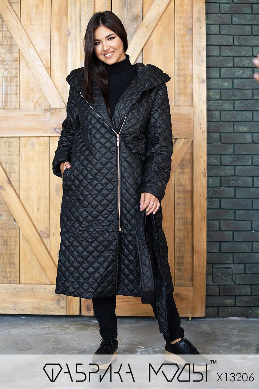 Стеганное пальто женское на подкладе  демисезон батал р.50  Фабрика Моды XL