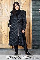 Стеганное пальто женское на подкладе  демисезон батал р.50  Фабрика Моды XL, фото 1
