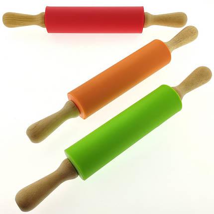 Скалка силиконовая с деревянными ручками L 44 см рабочая L 24,5 см D 5 см, фото 2