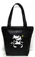 """Женская сумка - """"Коты под луной"""" Б11 - черная, фото 1"""