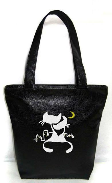 """Женская сумка - """"Коты под луной"""" Б11 - черная"""