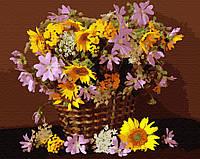 Картина за номерами Brushme Квітковий кошик GX34025 40х50см розпис по цифрам набір для малювання, полотно,