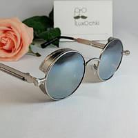 Круглые экстравагантные поляризованные зеркальные очки Matrix с широкой боковиной