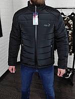 Куртка мужская демисезонная черная Puma | курточка короткая стеганная осень/весна
